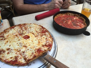 A deep dish and thin crust from Pizano's, Chicago.