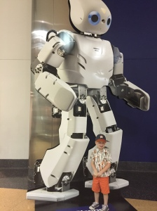 Rowdy was excited about Robot Revolution at The Museum of Science & Industry.
